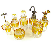 8pc Val Saint Lambert Crystal Valembert Pattern Dresser / Vanity Perfume Bottle Set