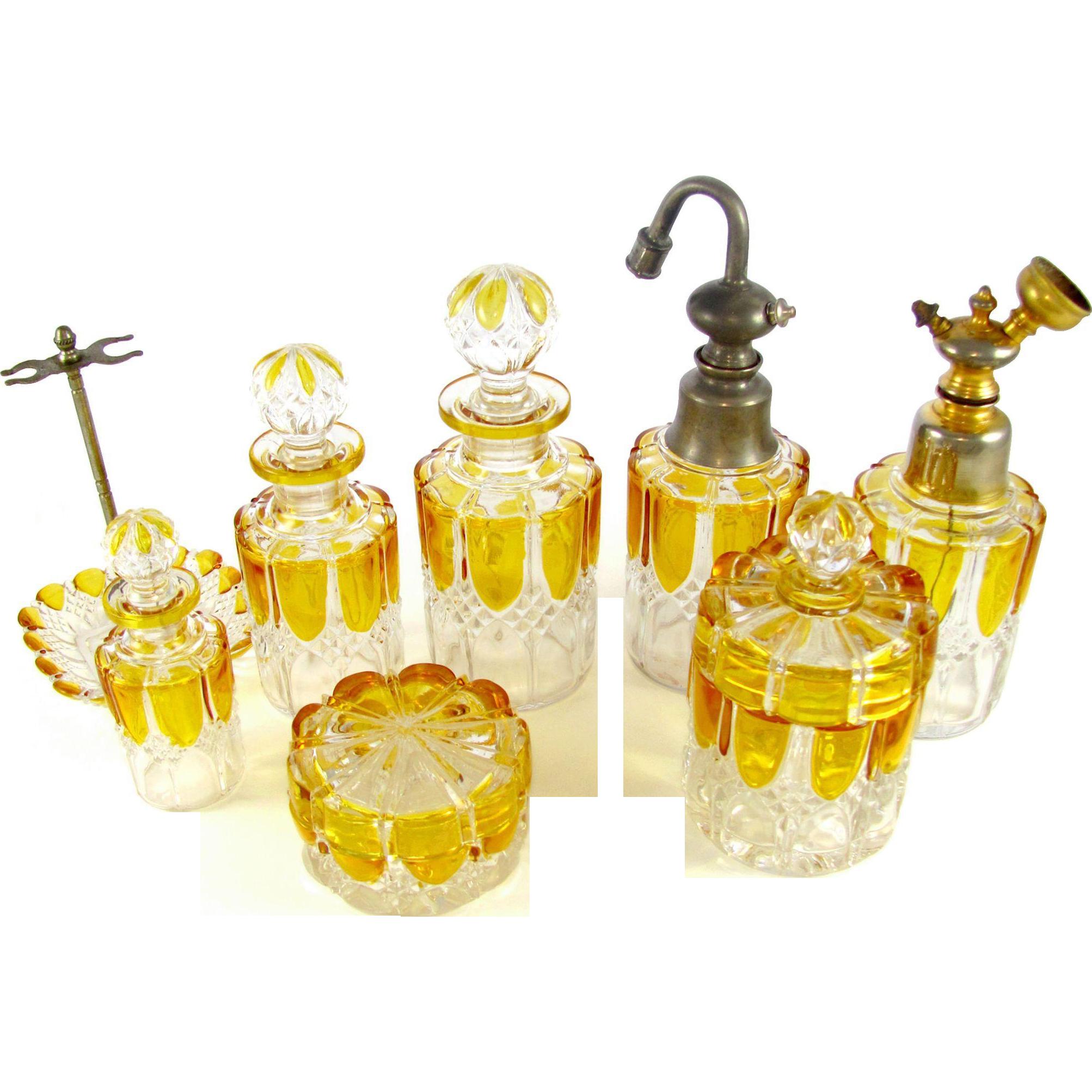 8pc Val Saint Lambert Crystal Valembert Pattern Dresser / Vanity Perfume Bottle Set