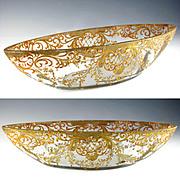 Large Antique Cut Glass Hand Painted Raised Gilt Enamel Centerpiece Bowl
