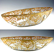 Large Antique Cut Glass Hand Painted Raised Gilt Enamel Centerpiece Bowl
