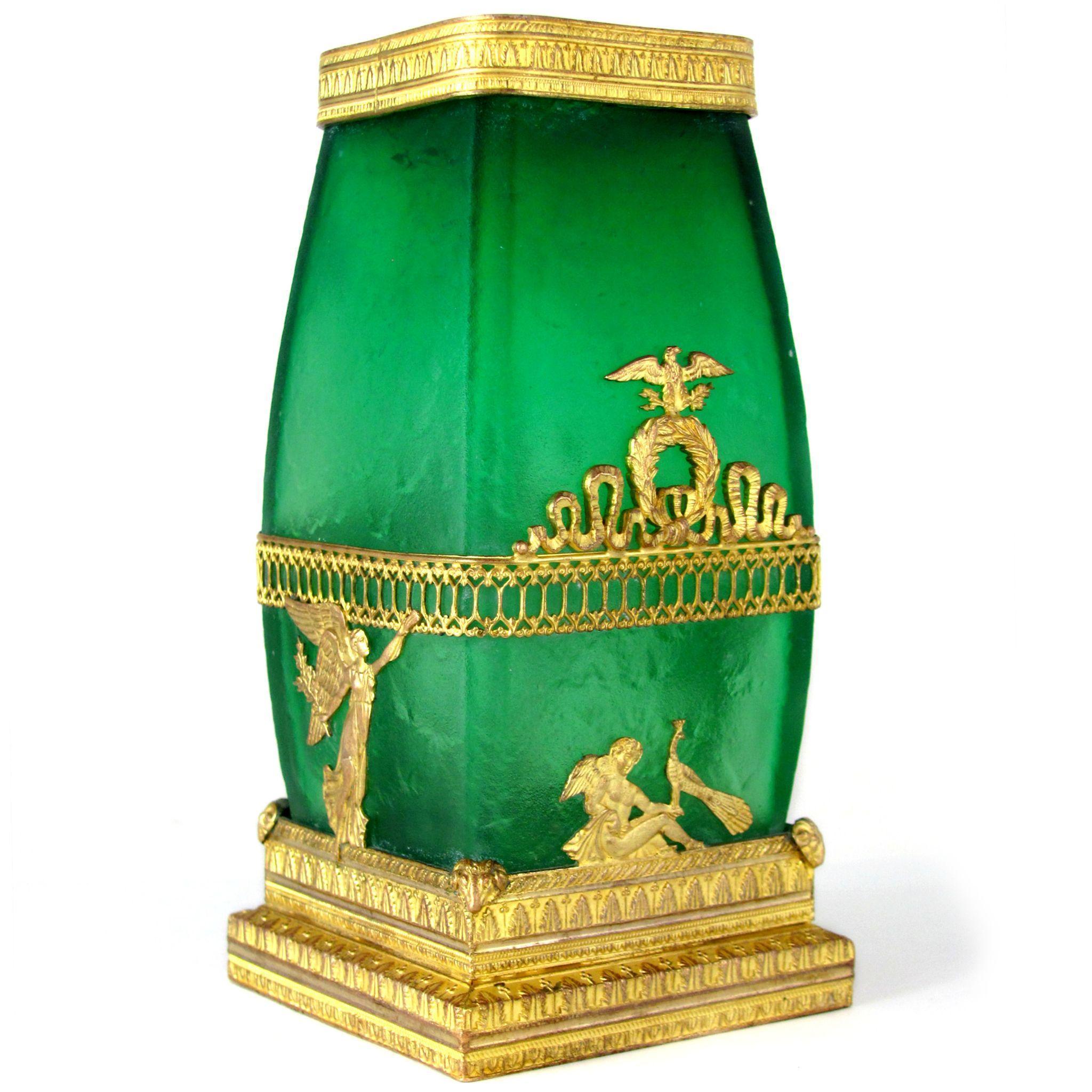 Antique French Napoleon III Empire Acid Etched Green Crystal Gilt Bronze Vase