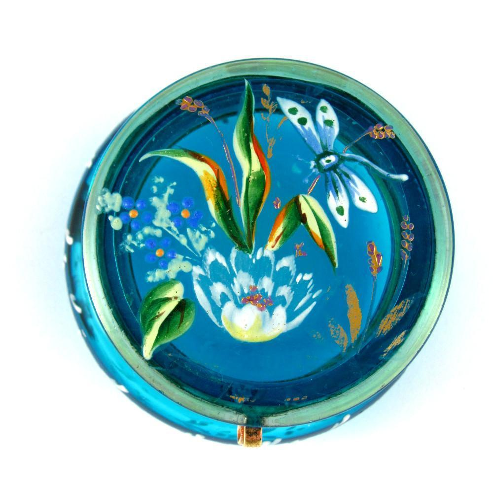Antique Bohemian Moser Hand Painted Enamel Victorian Hinged Dresser / Vanity Glass Box, Patch or Snuff Box