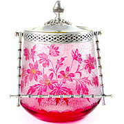 Signed Antique French Saint Louis Cameo Glass Cranberry Floral Cookie Jar / Biscuit Jar
