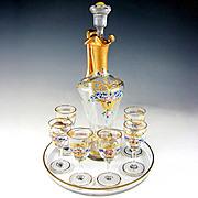 Antique French Cut Crystal Raised Enamel Gold Gilt Liquor Service, Decanter, Cordial Glasses