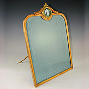 Large Antique Gilt Bronze & Jasperware Medallion Empire Style Picture / Photo Frame