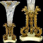 Antique French Baccarat Crystal Serpentine Pattern Vase, Bronze Base