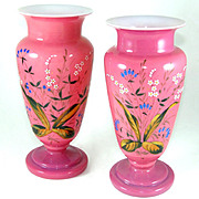 Pair Victorian Pink Glass Mantle Vases, Hand Painted Floral Enamel
