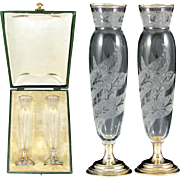 Pair Fine Antique French Sterling Silver & Cameo Etched Crystal Bud Vases in Box
