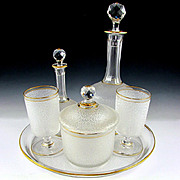 6pc Antique French Saint Louis Crystal Cameo Acid Etched Service de Nuit, Complete Bedside Carafe Set
