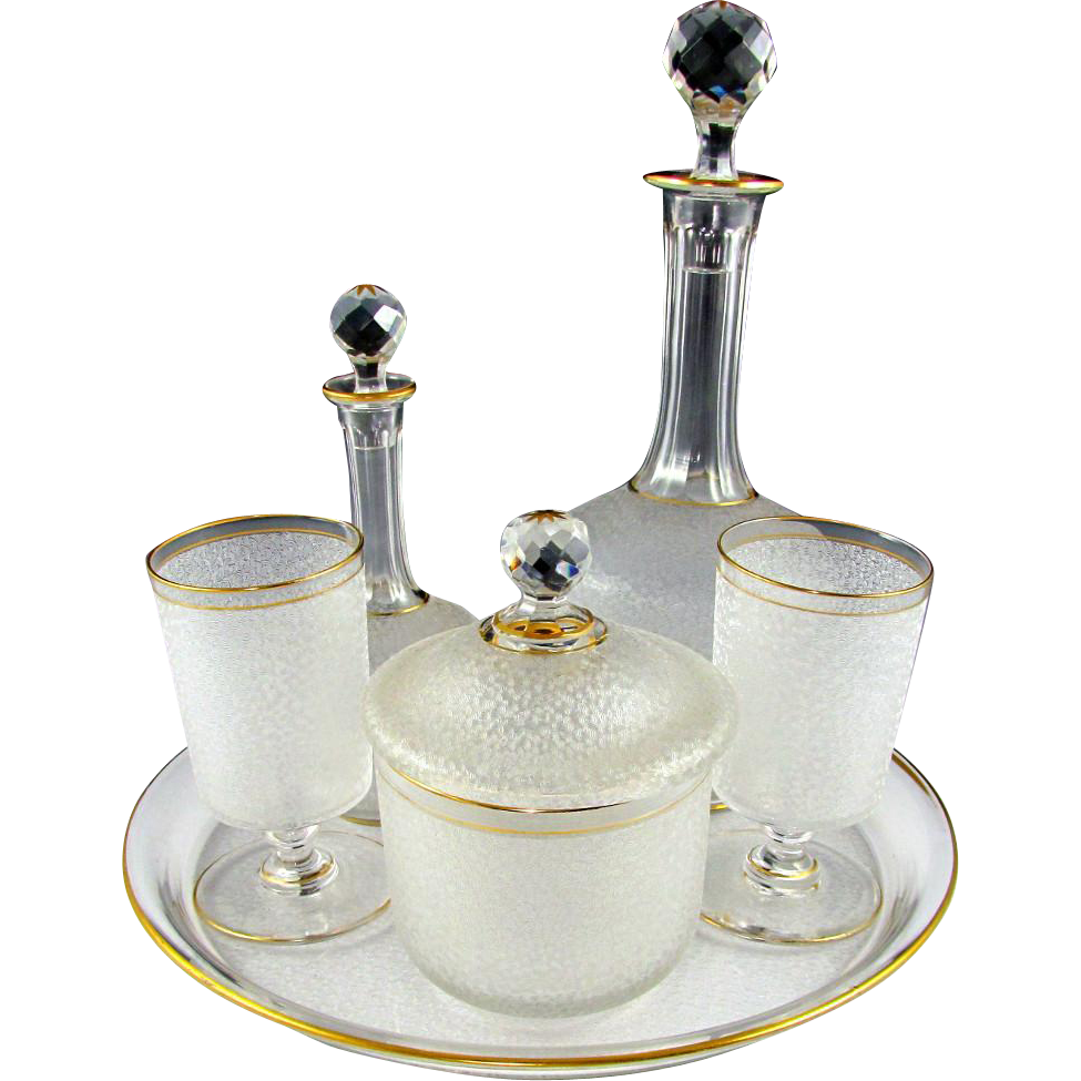 6pc Antique French Saint Louis Crystal Cameo Acid Etched Bedside Carafe or Absinthe Service for 2, Complete Set