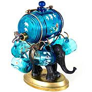 Antique French Napoleon III era Enameled Glass Liquor Cabaret Set Figural Elephant Tantalus
