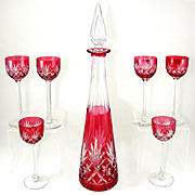 7pc French Saint Louis Massenet Pattern Cut Crystal Cranberry Red to Clear Liquor Set, Tall Decanter & Cordial Glasses