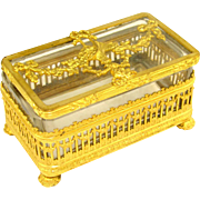 Antique French Empire Style Gilt Ormolu Cut Crystal Trinket Box