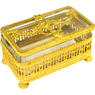 Antique French Empire Style Gilt Ormolu Cut Crystal Trinket Box