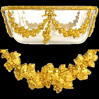 Lovely Antique French Gilt Ormolu Cut Glass Square Bowl / Vanity Dresser Trinket Dish
