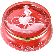 Antique Victorian Cranberry Glass Mary Gregory Enamel Lady & Bicycle Scene Vanity Powder Jar, Jewelry Box