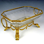 Large Antique Napoleon III French Empire Cut Crystal Gilt Bronze Centerpiece Bowl