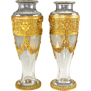 Pair Antique French Napoleon III Empire Style Gilt Bronze Vases, Floral Engraved Glass