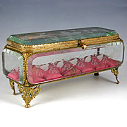 "9.5"" Long Antique 19thc French Thick Beveled Glass Jewelry Casket Box or Display Vitrine Case"