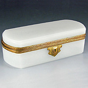 Antique 19thc French Opaline Glass Hinged Jewelry Box Casket