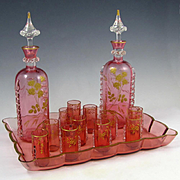 Antique French Pink Crystal Liquor Set, Raised Gold Enamel Roses, Decanters, Cordials & Tray