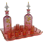 Antique 19thc French Clichy Pink Crystal Liquor Set, Raised Gold Enamel Roses, Decanters, Cordials & Tray