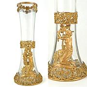 Antique French Napoleon III Empire Gilt Bronze Glass Ormolu Vase Neoclassical Ornate Filigree