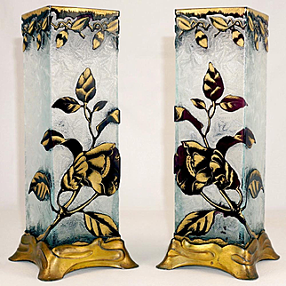 Pair Signed Baccarat Cameo Glass Vases French Art Nouveau Acid Etched Poppy & Leaf Floral Amethyst Cut to Clear Gilt Bases
