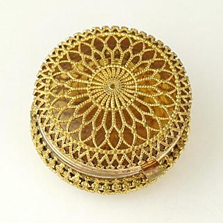 Antique Amber Glass Hinged Patch Box Ornate Ormolu Filigree