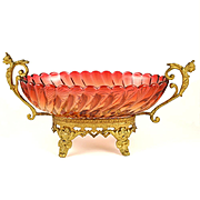 Antique French Baccarat Rose Tiente Swirl Bamboo Centerpiece Bowl Gilt Bronze Mounts