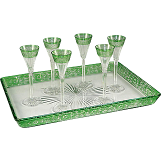 Antique French Baccarat Crystal Liquor Service, Rare Empire Pattern, Floral Motif Green Overlay, Cordial Glasses & Serving Tray