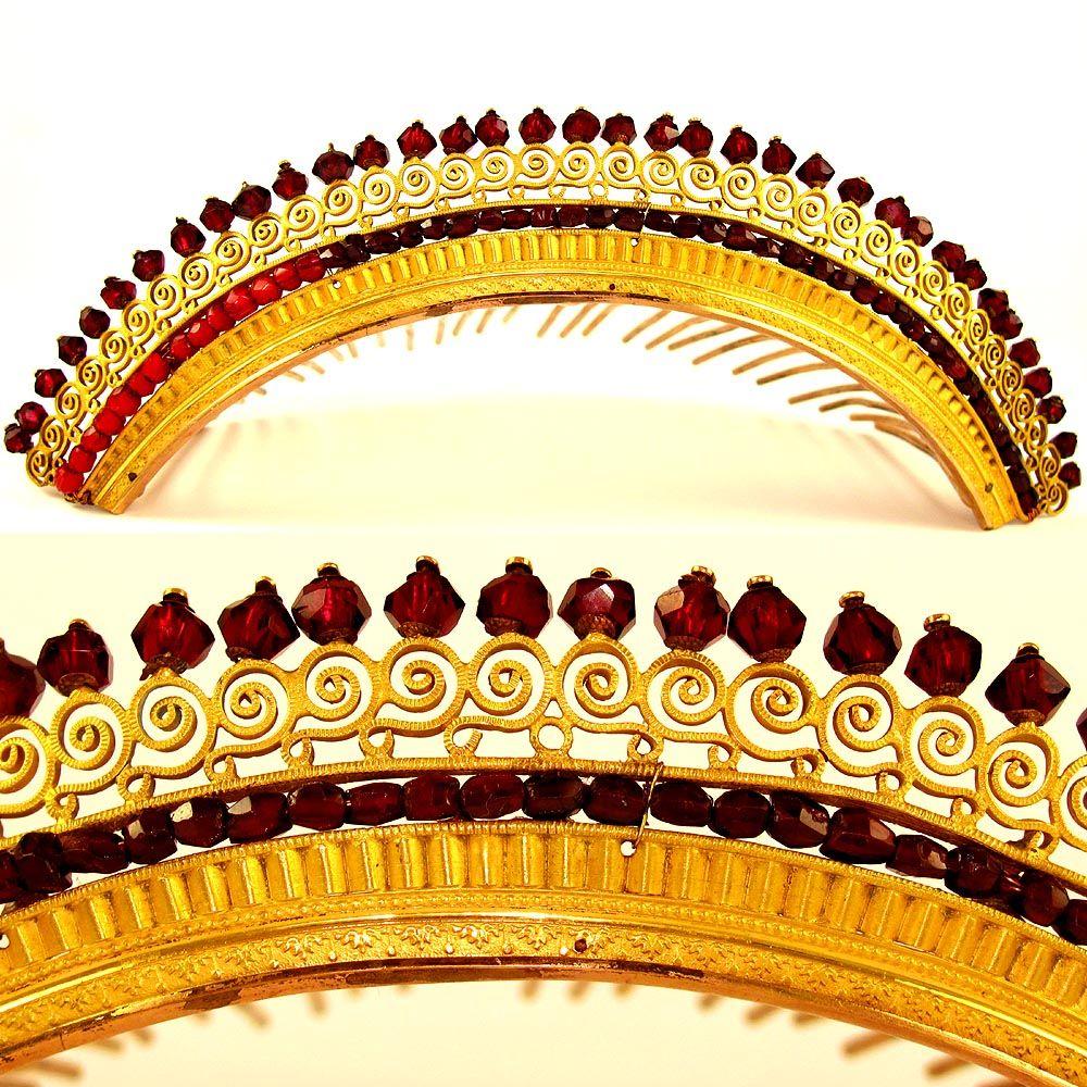 Antique French Empire Vermeil & Faux Garnet Diadem Hair Comb Tiara