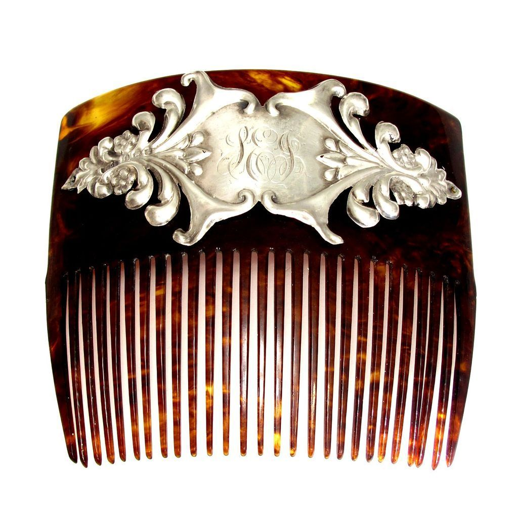 Antique Edwardian English Sterling Silver Hair Comb, Birmingham 1903