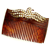 Antique Victorian/Edwardian Hair Comb Accessory, Eagle Motif, Rhinestone Jewels