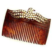 Antique Victorian/Edwardian Hair Comb Accessory, Eagle Motif, Rhinestone Jewels