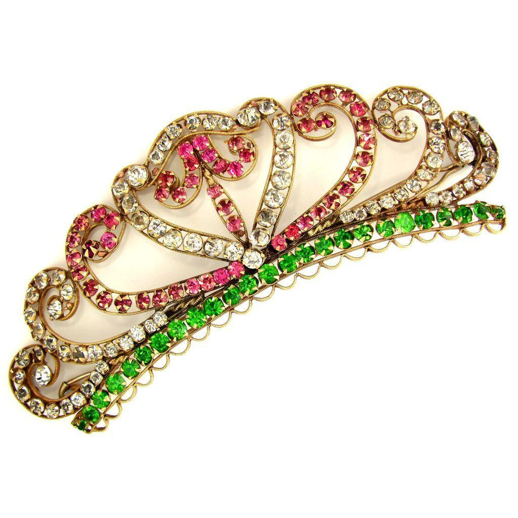Large Antique 1900s Ornate Jeweled Hair Barrette Clip, Pink & Green Paste Rhinestones