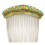 Antique French .800 Silver Gilt Vermeil Empire Turquoise Jeweled Hair Comb Diadem