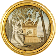 Antique Napoleon III era French Mourning Hair Art Memento Sentimental Miniature Portrait, Tomb, Weeping Willow, Daughter & Father