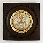 Antique French Mourning Hair Art Memento, Tomb, Sentimental Miniature Portrait