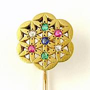 French 18K Yellow Gold Stick Pin Brooch Diamond Ruby Emerald Sapphire
