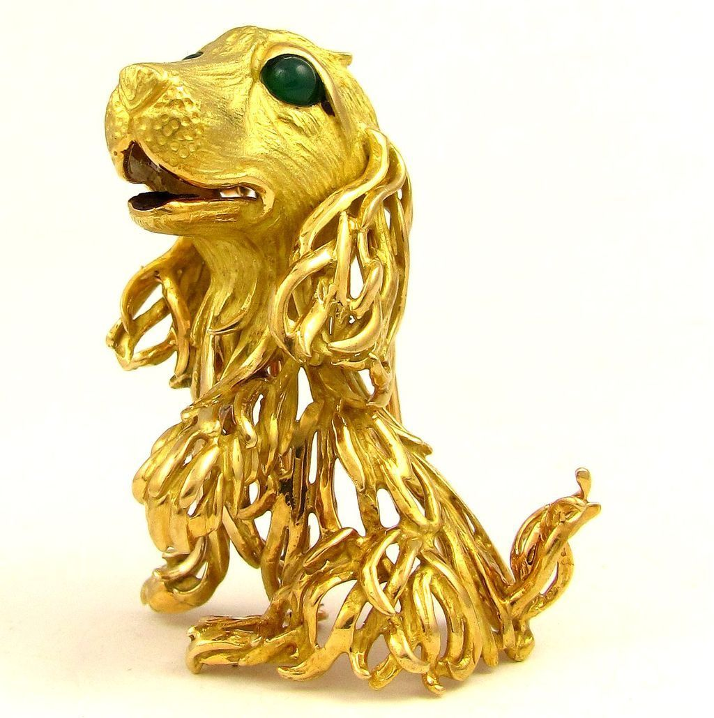 Retro Vintage French 18K Gold 3D Dog Figural Brooch / Fur Clip, Emerald Cabochon Eyes, Eagle Hallmark
