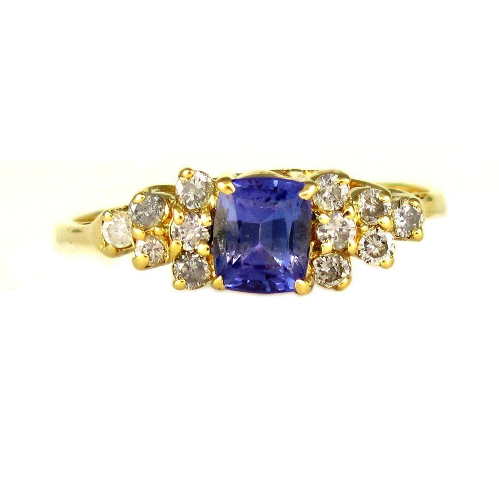 Genuine Tanzanite & Diamond Accented 14K Gold Lady's Solitaire Ring