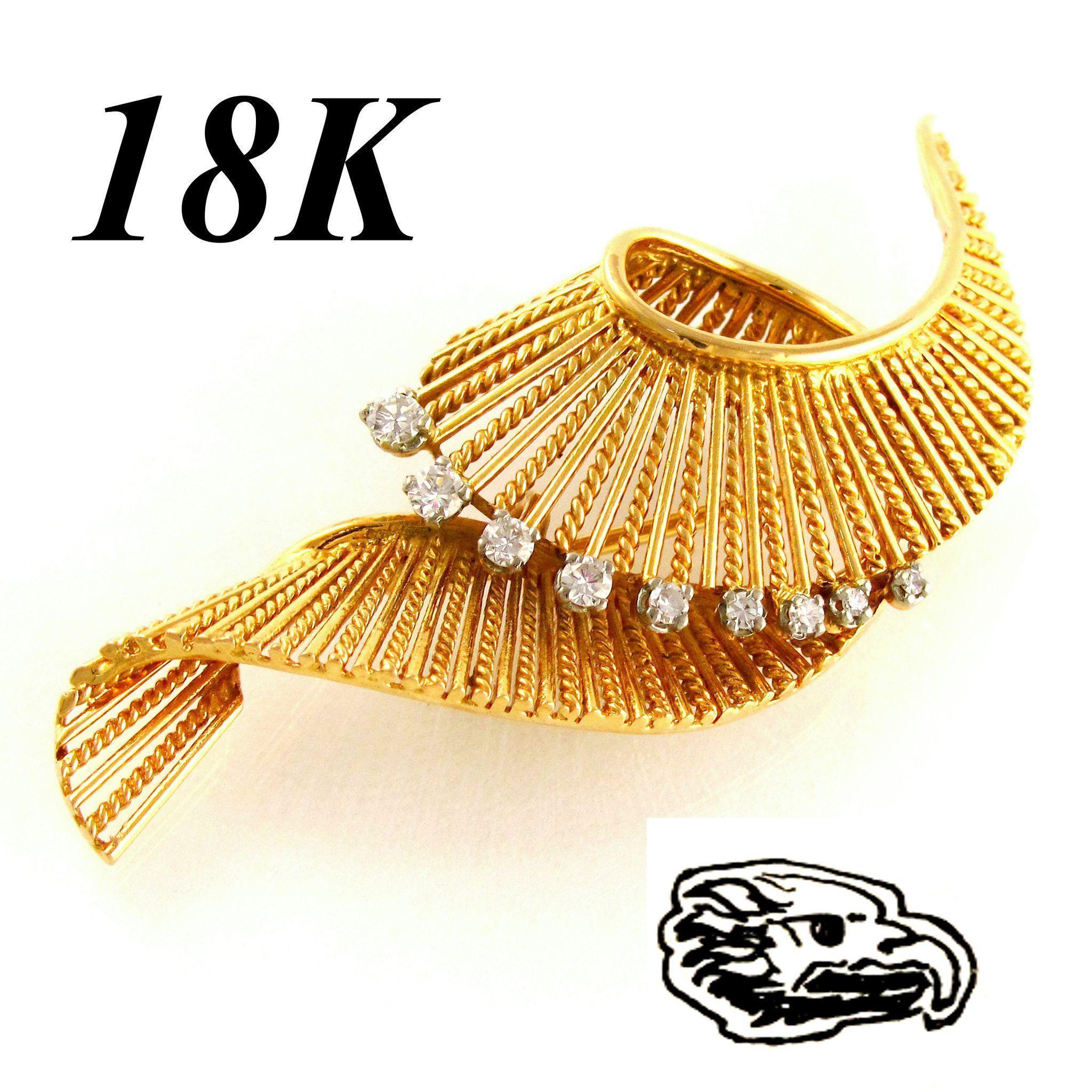 French 18K Yellow Gold & Diamond Swirl Brooch Pin