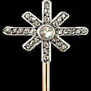 Antique French 18K Yellow Gold & Platinum Rose Cut Diamonds Figural Star Stick Pin Brooch