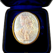 Large Antique Victorian 18K Gold Shell Cameo Brooch / Pin, Original Box