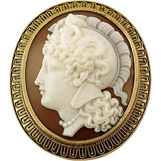Antique Victorian Hand Carved Shell Cameo Warrior Goddess Athena Etruscan Revival Yellow Gold Brooch / Pendant
