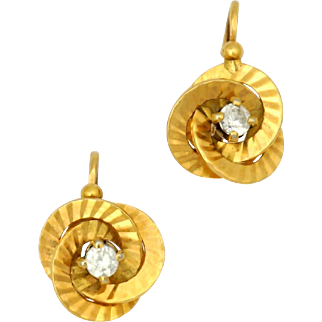 Art Deco French 18k Yellow Gold Back to Front Dormeuses Earrings Clear Paste Stones