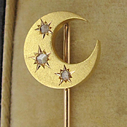 Antique French 18k Gold & Diamonds Stick Pin Crescent Moon & Stars
