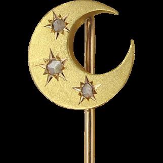 Antique French 18k Gold & Diamonds Stick Pin Crescent Moon & Stars