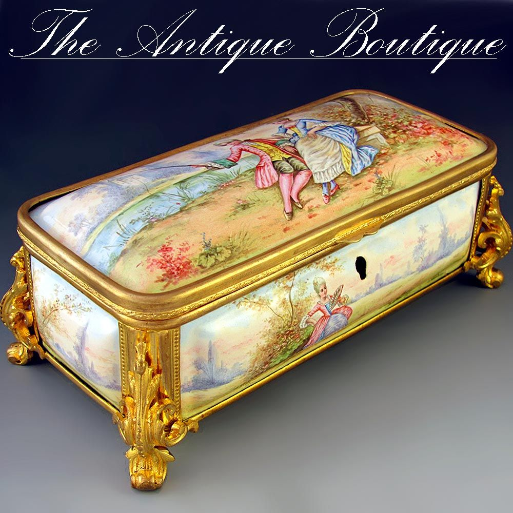 Antique french enamel on copper gilt bronze ormolu jewelry for Vintage antique jewelry box
